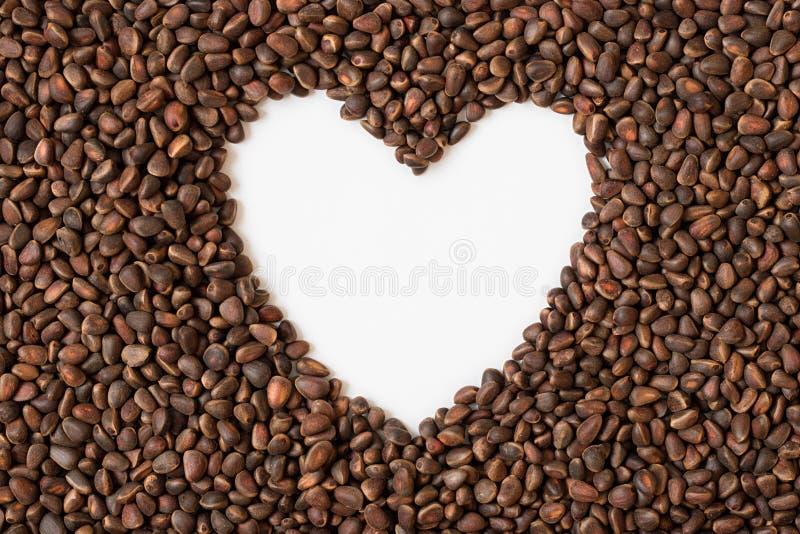Kiefer, Nuss, Samen, Zeder, Brown, natürlich, Lebensmittel, Herz, Weiß, stockfoto