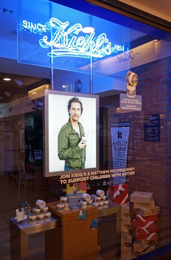 Kiehl` s opslag in Sydney Kiehl ` s is een Amerikaanse detailhandelaar van het schoonheidsmiddelenmerk die zich in van het van he royalty-vrije stock afbeelding