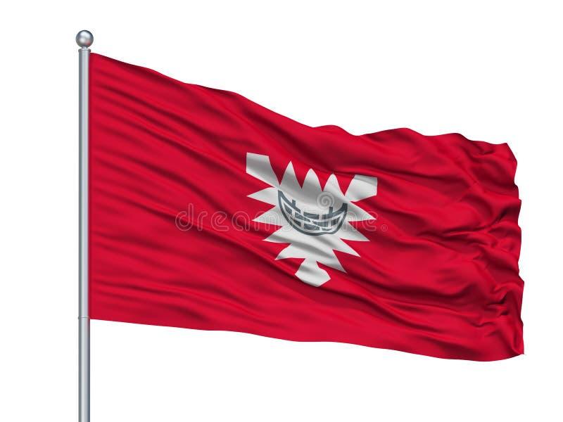 Kiel City Flag On Flagpole, Alemania, aislada en el fondo blanco stock de ilustración