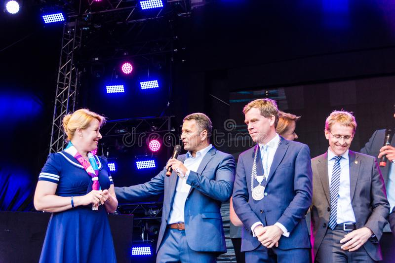 Opening ceremony of the 125th Kieler Woche 2019, Kiel, Germany. Kiel, Germany - June 22nd 2019: Federal Minister of the Family Franziska Giffey is opening the stock photo