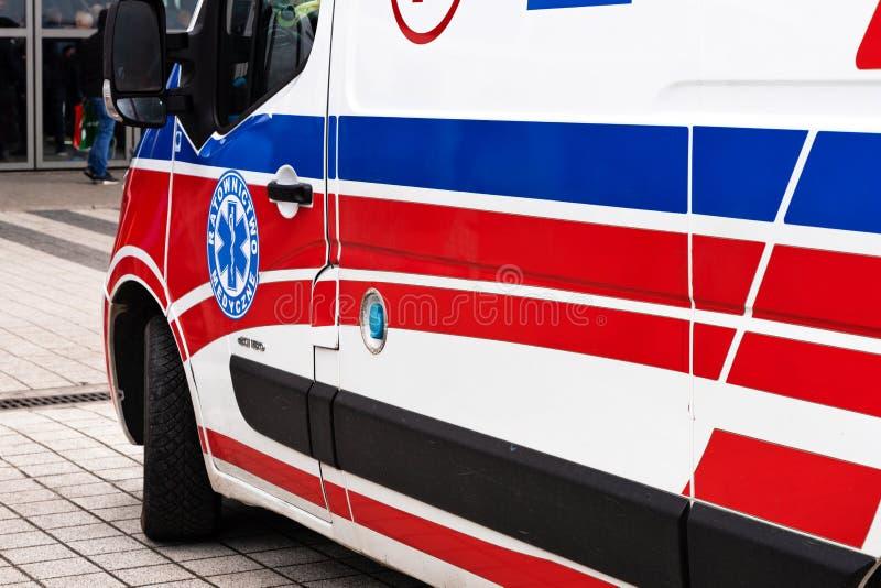 Ambulance during public event. Kielce, Poland, March 16, 2019:  Polish ambulance medical service vehicle on the street of Kielce during public event royalty free stock images