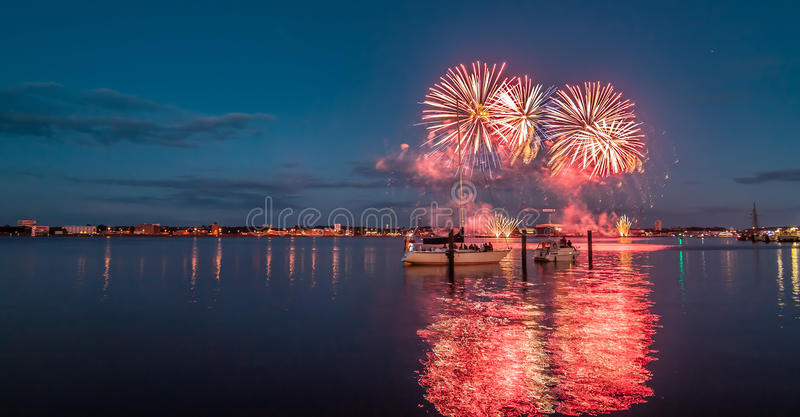 Kieler Woche Fireworks royalty free stock images