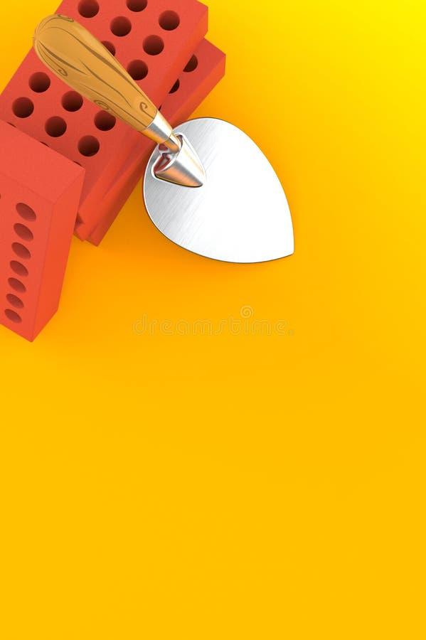 Kielnia i cegły na pomarańczowym tle ilustracja wektor