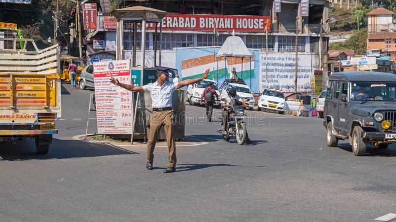Kierować ruch drogowego w tamil nadu fotografia royalty free