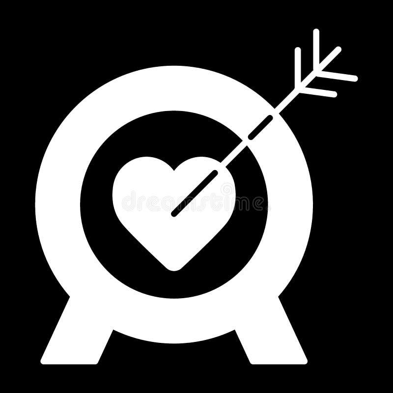 Kierowa cel linii ikona, stały wektoru znak, liniowy stylowy piktogram odizolowywający na czerni Cel z kierowym symbolem, logo royalty ilustracja