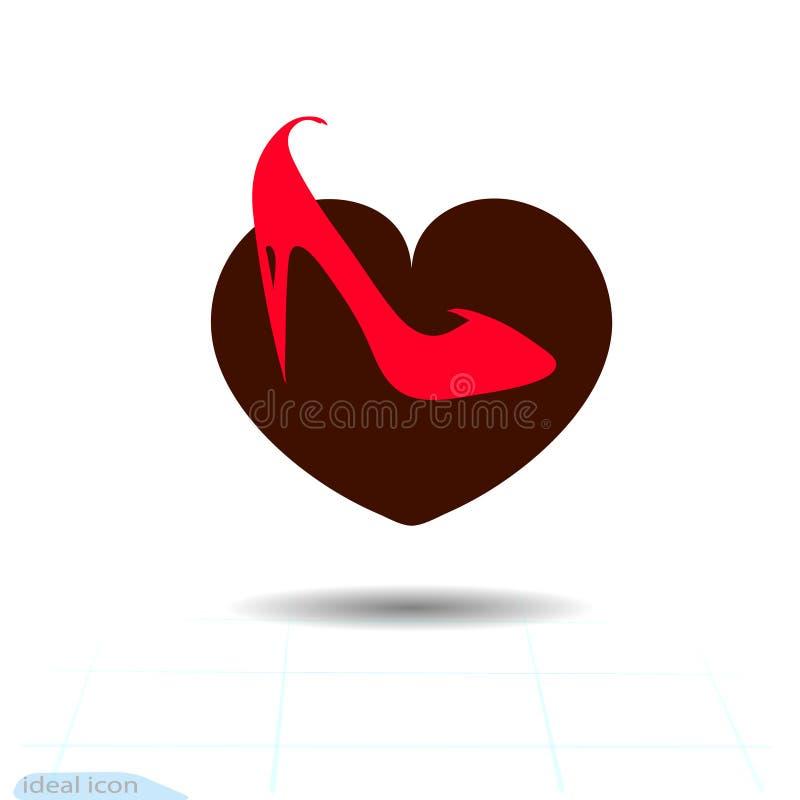 Kierowa czarna ikona, miłość symbol Czerwony żeński elegancki but w sercu Walentynka dnia znak, emblemat, mieszkanie styl dla gra ilustracja wektor