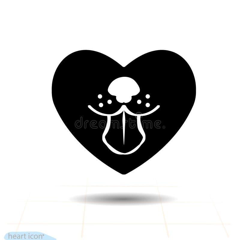 Kierowa czarna ikona, miłość symbol Psi jęzor w sercu Walentynka dnia znak, emblemat, mieszkanie styl dla grafiki i sieć projekt, ilustracja wektor