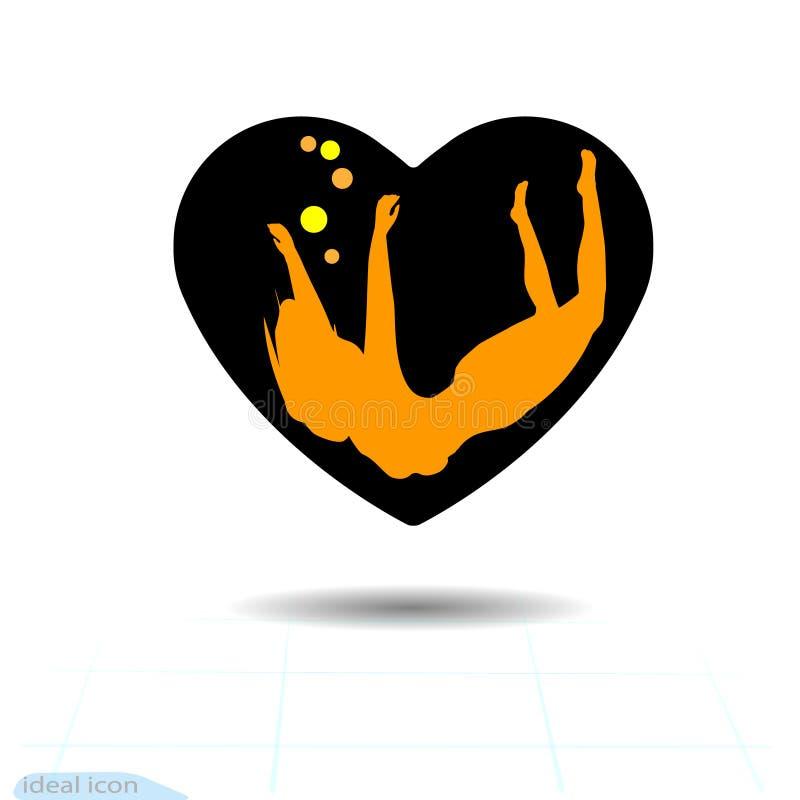 Kierowa czarna ikona, miłość symbol Sylwetki piękna kobieta dziewczyna, unosi się w sercu Walentynka dnia znak, emblemat, mieszka royalty ilustracja