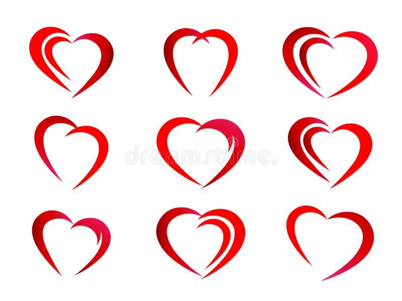 Kierowa czerwona valentine ikona ustawiająca na białym tle ilustracja wektor