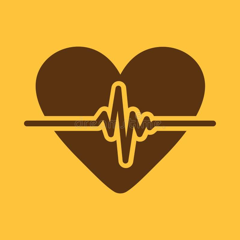 Kierowa ikona Kardiologia i kardiogram, ecg, cardio symbol mieszkanie royalty ilustracja