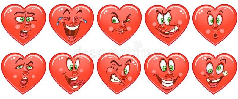 Kierowa kolekcja emoticons smiley Emoji czerwone róże miłości tła symbolu white royalty ilustracja