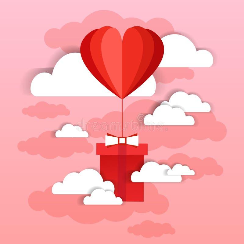 Kierowa Kształtna Lotniczego balonu komarnica Z teraźniejszości pudełkiem Nad Różowym nieba I chmur tłem ilustracji