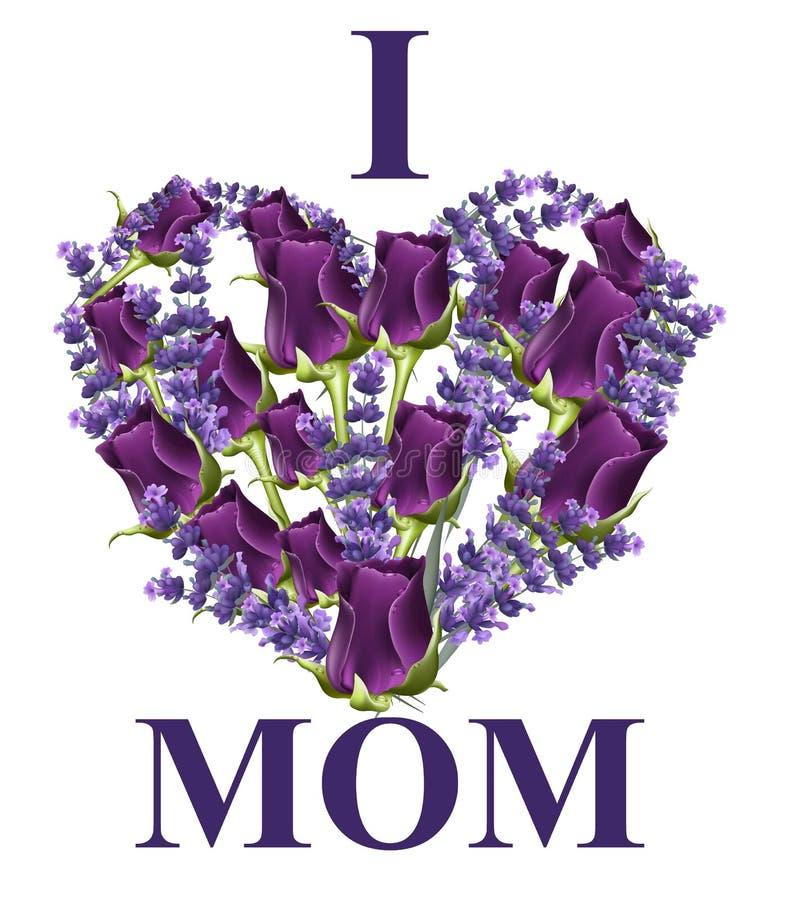 Kierowa kwiat karta z kocham mama teksta wektor ilustracja wektor