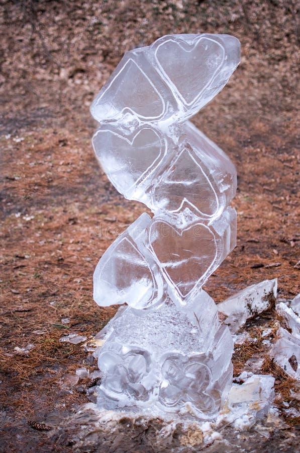 Kierowa lodowa rzeźba w drewnach obraz stock