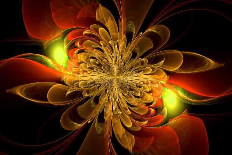Kierowany komputerowo fractal z kwiatem obraz royalty free
