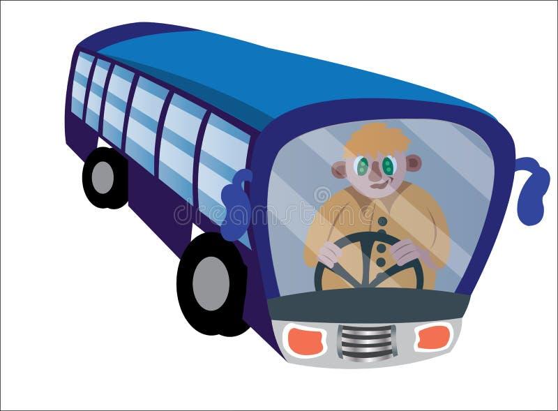 Kierowca Autobusu na kołach ilustracja wektor