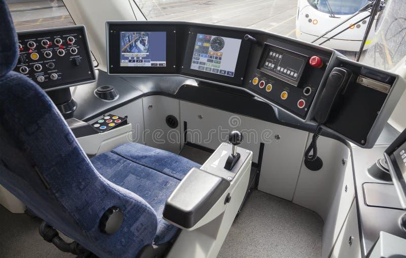 Kierowca kabina tramwaj fotografia stock