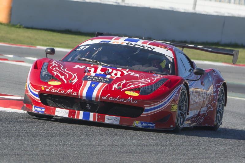Kierowca LATHOURAS Ferrari 458 Italia GT3 2013 Zawody międzynarodowi GT OTWARTY zdjęcie stock