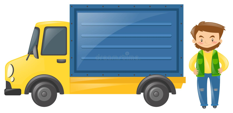 Kierowca pozycja ciężarówką ilustracja wektor