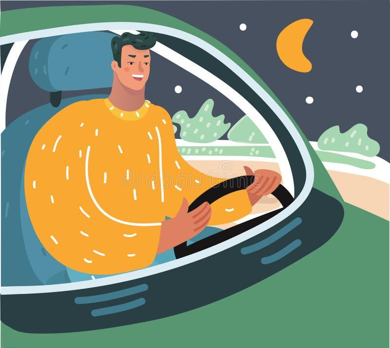 Kierowca przy nocami ilustracja wektor