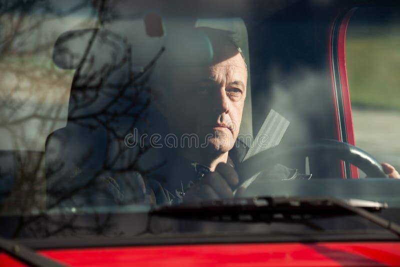 Kierowca w samochodzie obraz royalty free