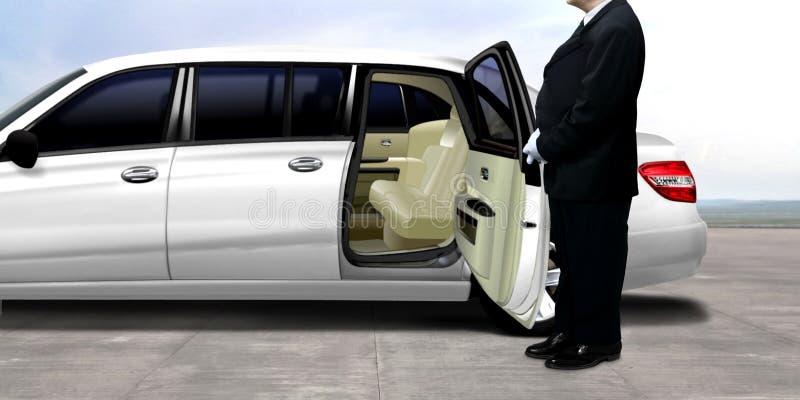 Kierowcy czekanie obok białej limuzyny fotografia stock