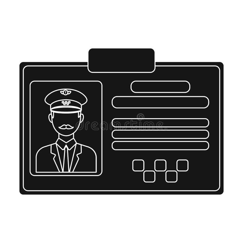 Kierowcy dokumentu taxi Plastik grępluje taksówkarza z fotografii taxi staci pojedynczą ikoną w czerń stylu symbolu wektorowym za ilustracja wektor