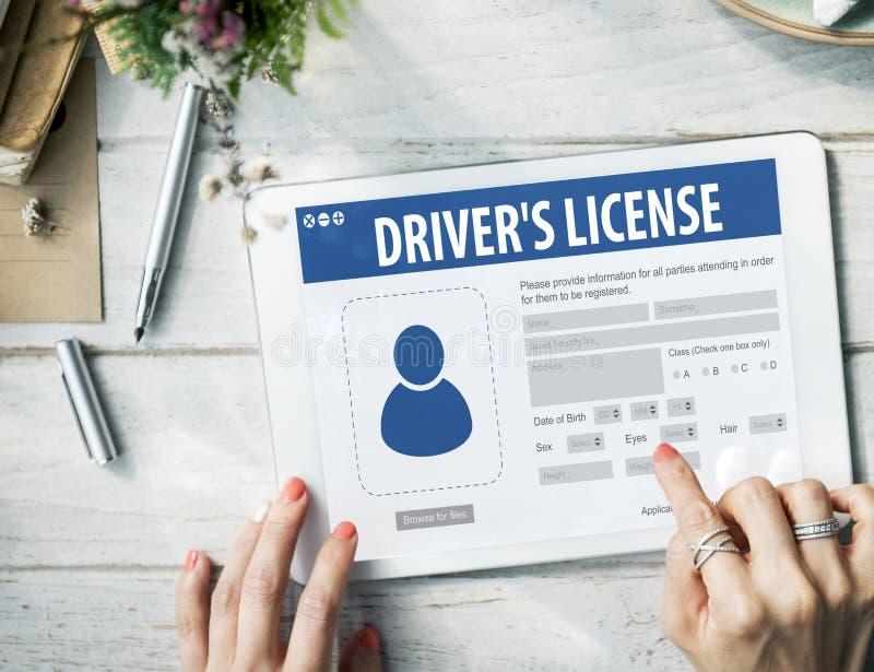 Kierowcy licencja Webpage Rejestracyjny Podaniowy pojęcie zdjęcie stock