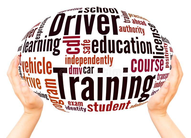 Kierowcy szkolenia słowa chmury ręki sfery pojęcie ilustracja wektor
