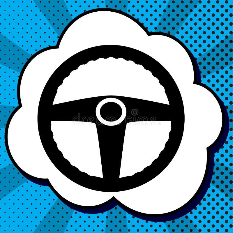 Kierowcy znak wektor Czarna ikona w bąblu na błękitnych sztuka półdupkach ilustracja wektor