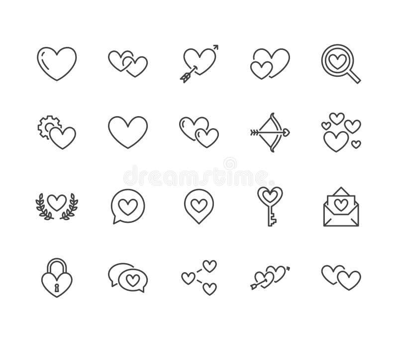 Kierowe mieszkanie linii ikony ustawiać Miłość, datuje miejsce wektorowe ilustracje - dwa serca kształtują, romantyczna data, int ilustracji