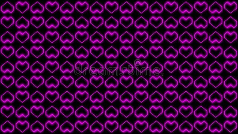 Kierowe tło grafika Uwypukla Valentine's dnia Gloweded kształty royalty ilustracja
