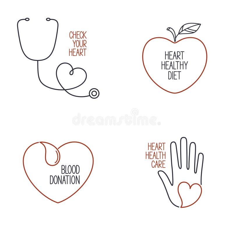 Kierowe zdrowie ikony ustawiać ilustracji