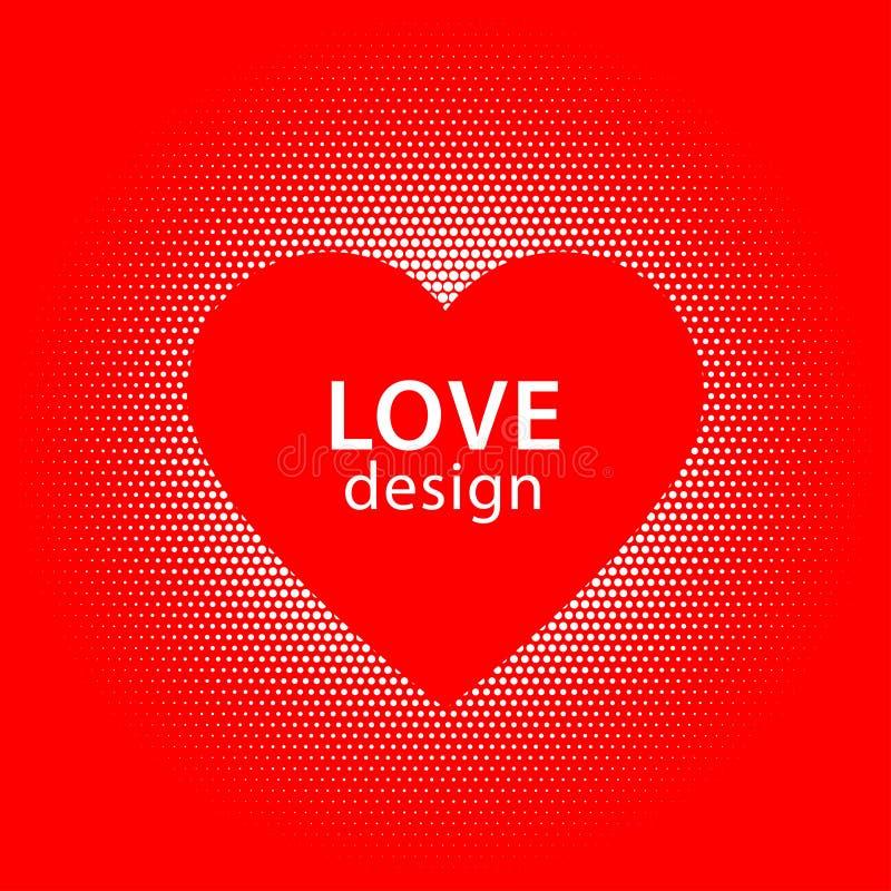 Kierowego kształta wektorowe białe kropki bryzgają z czerwoną serce ramą wśrodku obrazy stock
