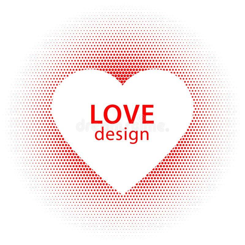 Kierowego kształta wektorowe czerwone kropki bryzgają z białą serce ramą wśrodku obraz stock