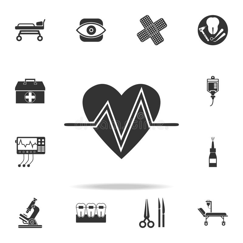 Kierowego rytmu ikona Szczegółowy set medycyna elementu ilustracja Premii ilości graficzny projekt Jeden inkasowe ikony dla nas royalty ilustracja