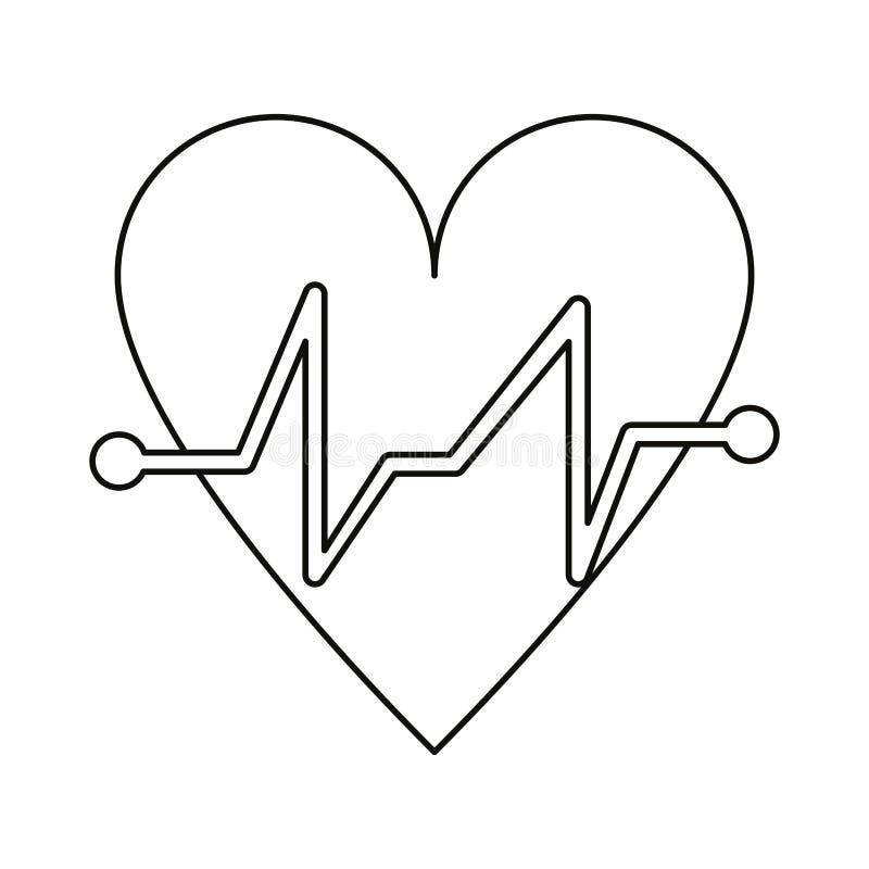 Kierowego rytmu pulsu sercowy medyczny cienieje linię royalty ilustracja