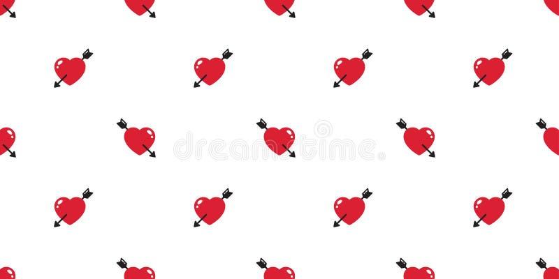 Kierowej bezszwowej deseniowej valentine prezenta opakunku papieru płytki tła wektorowej strzałkowatej powtórki tapetowy szalik o ilustracja wektor