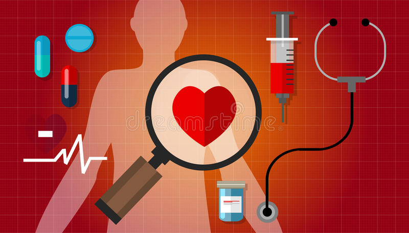 Kierowej failurea choroby pulsu problemu zdrowy czerwony lekarstwo ilustracji