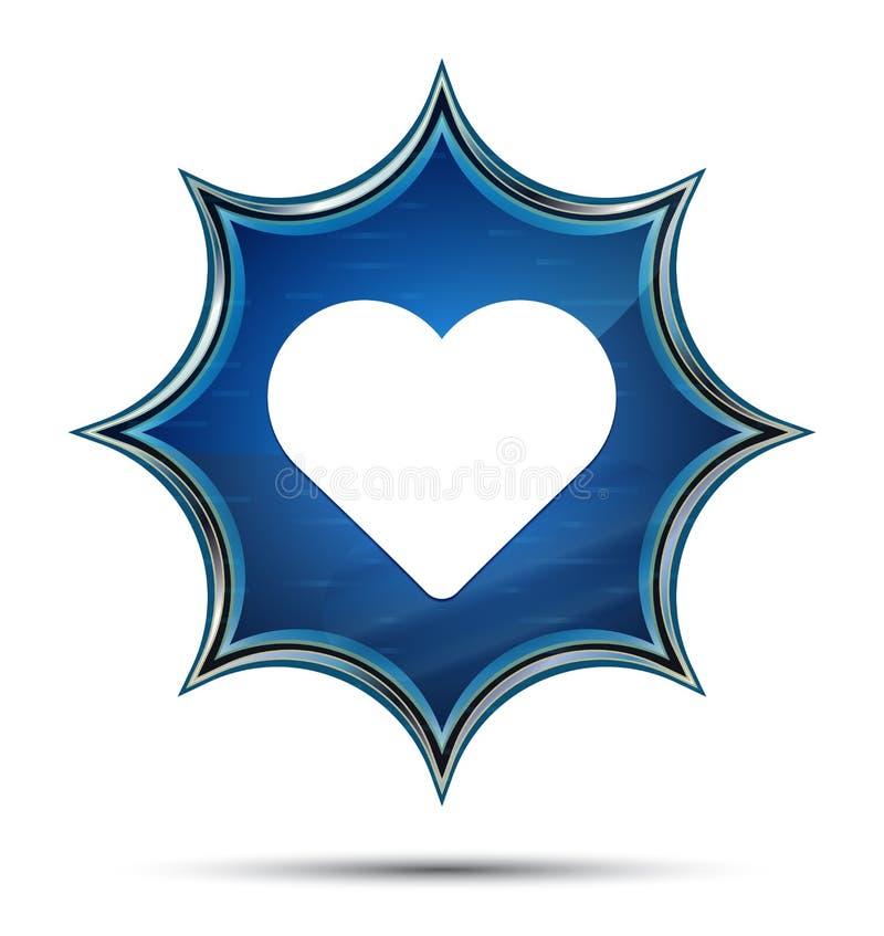 Kierowej ikony magiczny szklisty sunburst błękitny guzik ilustracji