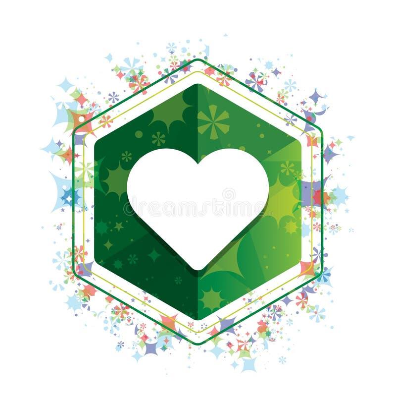 Kierowej ikony rośliien wzoru zieleni sześciokąta kwiecisty guzik royalty ilustracja