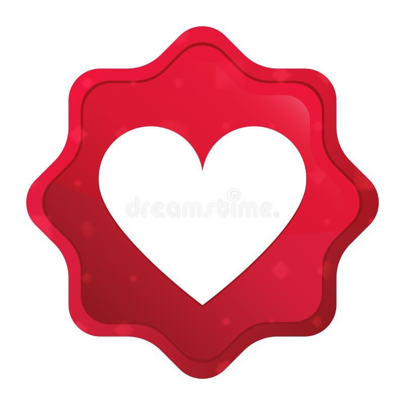 Kierowej ikony starburst majcheru mglisty różany czerwony guzik ilustracji