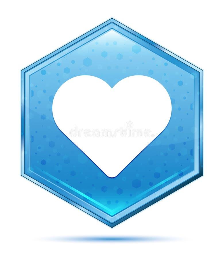 Kierowej ikony sześciokąta krystaliczny błękitny guzik ilustracji