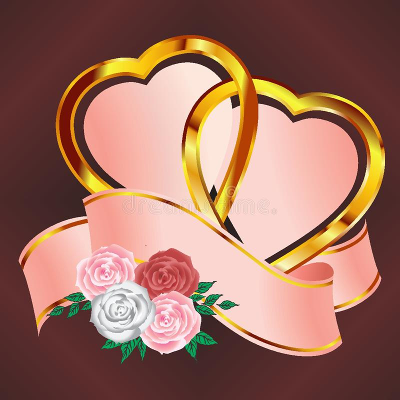 Kierowi para sztandary z różami royalty ilustracja