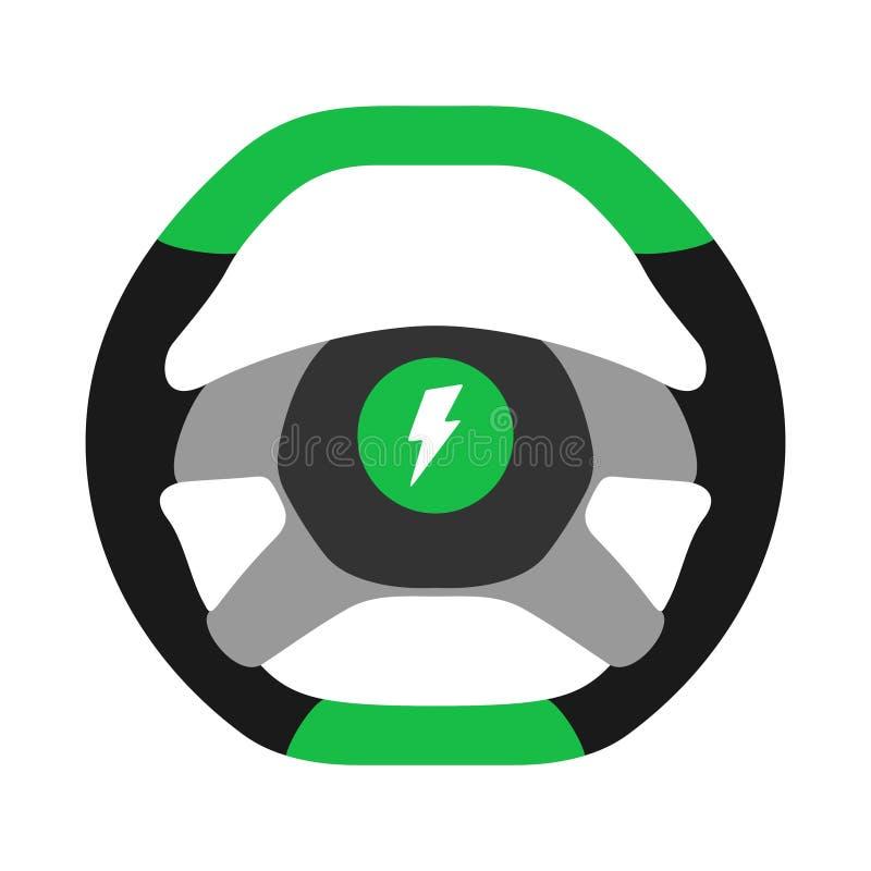 Kierownica elektrycznego samochodu ikona odizolowywająca na białym tle Samochodowego koła kontroli sylwetka, zielony auto część j ilustracja wektor