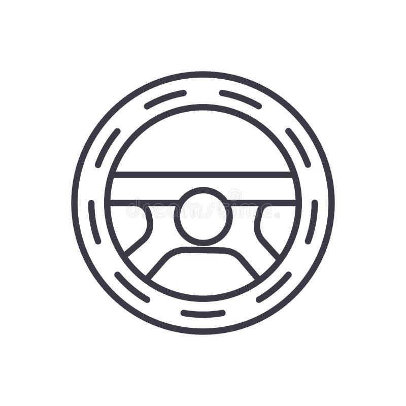 Kierownica, napędowa wektor linii ikona, znak, ilustracja na tle, editable uderzenia ilustracji