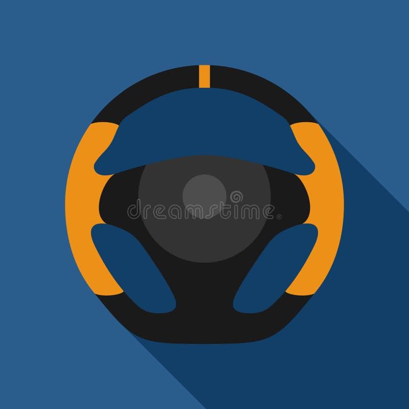 Kierownica sportowego samochodu ikona odizolowywająca na żółtym tle Samochodowego koła kontroli sylwetka, Czarny auto części jeżd royalty ilustracja