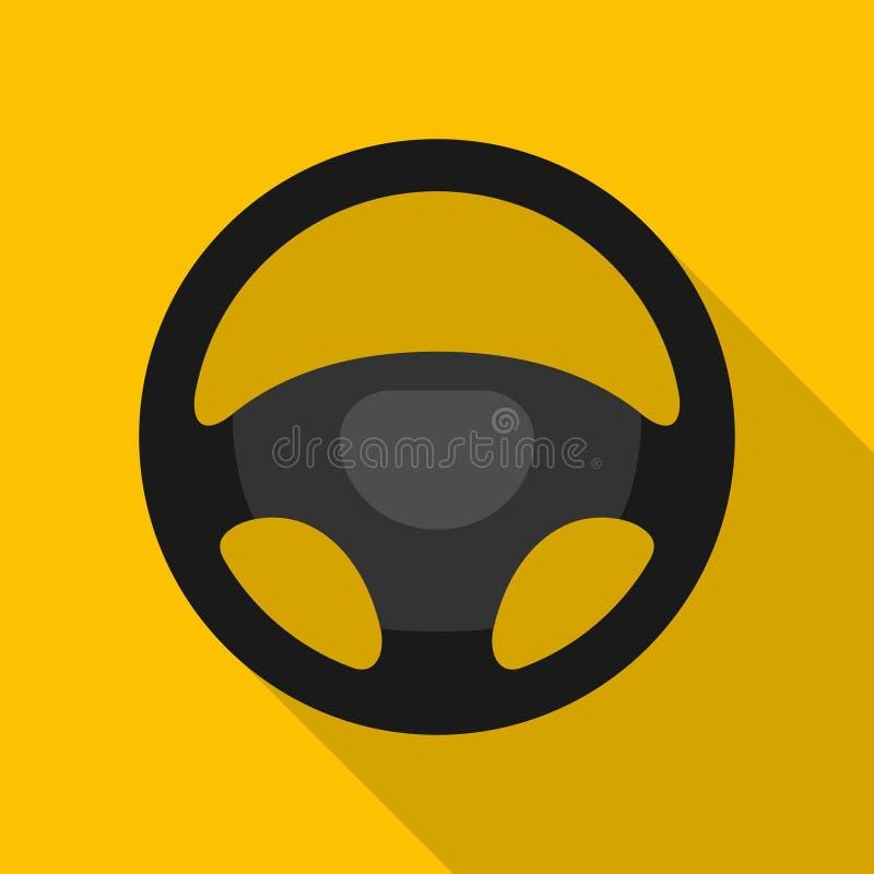Kierownicy ikona odizolowywająca na żółtym tle Samochodowego koła kontroli sylwetka, Czarny auto części jeżdżenie w mieszkanie st royalty ilustracja
