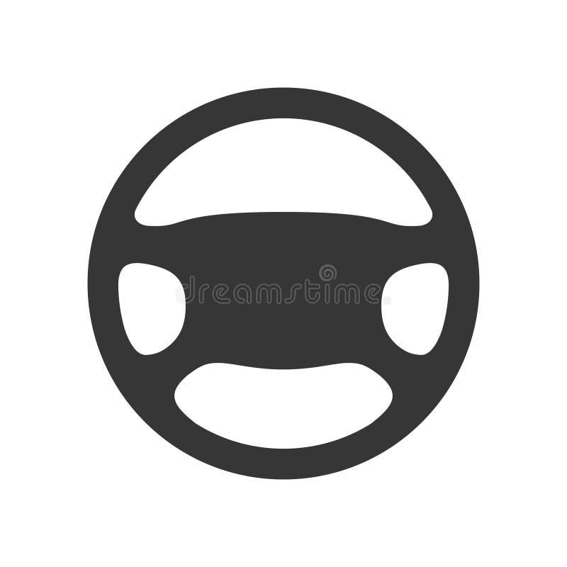 kierownicy ikona odizolowywająca na białym tle Samochodowego koła kontroli sylwetka, Czarny auto części jeżdżenie w mieszkanie st royalty ilustracja