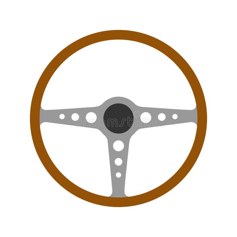 Kierownicy retro samochodowa ikona odizolowywająca na białym tle Samochodowego koła kontroli sylwetka, Antykwarski drewniany klas ilustracja wektor